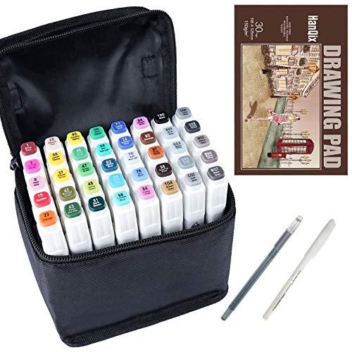 Marker Stifte Grafitti 40 Farbige Twin Tip Textmarker für Studenten Manga Kunstler Sketch für Sketch Marker Pens Set Mit Aufbewahrungstasche und A5-Markierungsfeld (40 Farbige Stift)