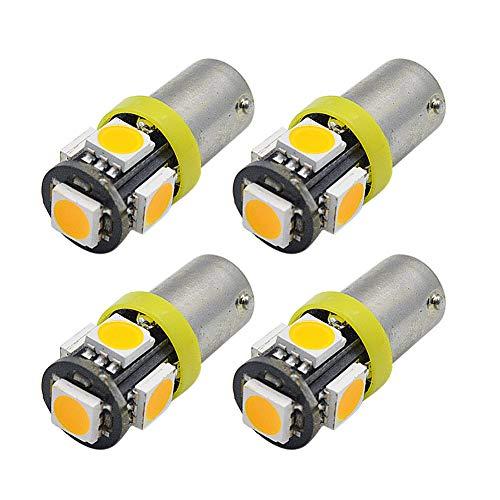 Ruiandsion - 4 bombillas LED BAY9S de 24 V 5050 5SMD para luces de matrícula de coche, luces de posición lateral, color amarillo/ámbar