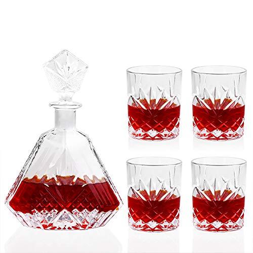 Crystal Glass Whiskey Decanter Set, 100% transparante lood-vrije kristal glas rode wijn Decanter graveren textuur met 4 wijnglazen het perfecte cadeau voor elke gelegenheid