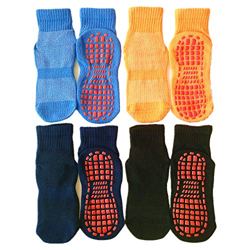 Leeshow 4Pairs Non Slip Trampoline Socks for Kids, Anti Skid Gripy Floor Socks for Exercises, Gym, Yoga and Pilates (2-5years, Black, Navy, Blue,...