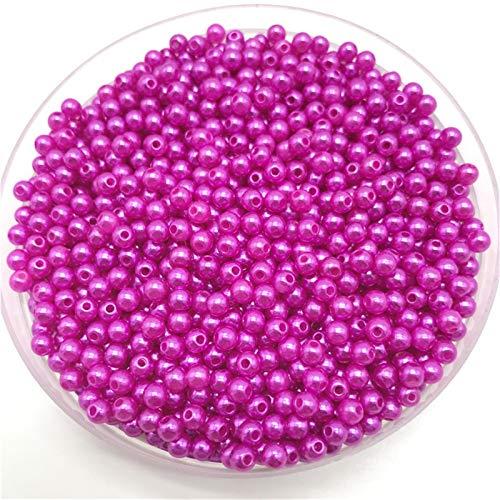 Hyzb 200 unids 4 mm Perlas de imitación Perlas Redondas Espaciador de Perlas Sueltas DIY Joyería Haciendo Collar Pulsera Pendiente Accesorios (Color : 06)