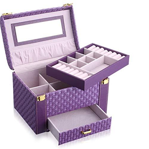 Caja Joyero 2 Capas Espejo Grande Caja de Joyas Organizador Bandeja de...