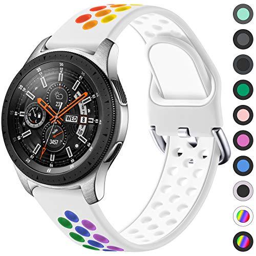 JUVEL Compatible con Samsung Galaxy Watch 3 45mm Correa/Samsung Gear S3 Correa, Silicona Suave de 22mm Correas de Repuesto Deportivas Transpirables para Huawei Watch GT2, Pequeño, Blanco Colorido