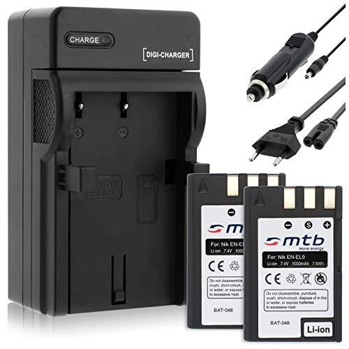 2 Akkus + Ladegerät (KFZ, Netz) für Nikon EN-EL9 / D40, D40x, D60, D3000, D5000