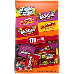 Contains one (1) 63.43-Ounce 170 piece bag of SKITTLES, STARBURST, and LIFE SAVERS Gummies Fun Size Variety Pack This 170-piece bulk candy pack includes Fun Size SKITTLES Original and Wild Berry flavors, STARBURST Original and Tropical flavors, and L...