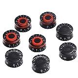Lot de 8 boutons de contrôle de la vitesse du volume et de la tonalité pour guitare électrique Les Paul LP Noir et rouge