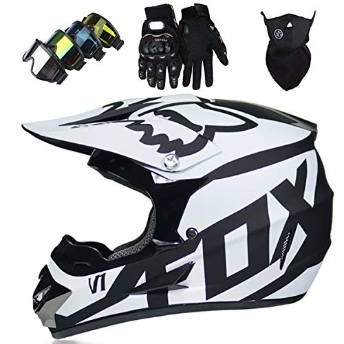 Motorradhelm - Motocross Helm Set - Dirt Bike Fullface Offroad Motorrad Helm mit Schutzbrille Geeignet für Kinder von 5 Bis 14 Jahren mit Fox Design - Schwarz-Weiss - S/M/L/XL,M
