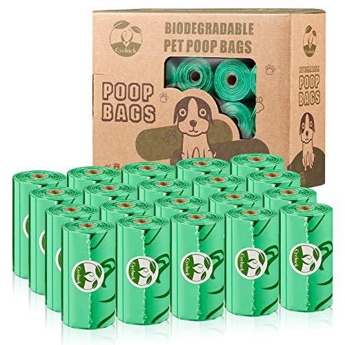 Cycluck Biodegradables 300 Caca Perro Bolsas Extra Gruesa Prueba de Fugas Bolsas Hecho de la Mezcla de almidón de maíz con DIN CERTCO Certificación (300 Bolsas, Verde)
