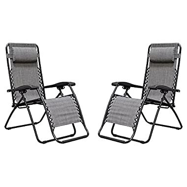 Caravan Sports Infinity Zero Gravity Chair - 2 Pack, Grey