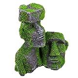 POPETPOP Isla de Pascua Decoraciones de Acuario Escultura de Cabeza de Pecera Refugio de Peces Ambientes Exóticos Florero Decoración de Acuario para Peces Betta Reptil