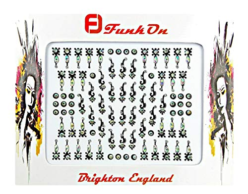 FunkOn® Festival Bindi stickers Stick on Face Gems for Festivals Tribal Tikka Makeup Indian Crystal Bindis Large Pack of Glitter Diamante Bollywood Costume Forehead Jewels