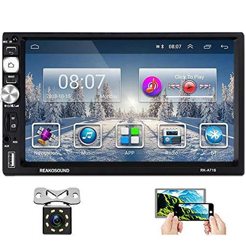 Hikity Doppio Din Android Autoradio conBluetooth 7 Pollici Tattile Schermo Auto StereoFM AM Tuner Supporta GPS Navigazione WiFi Collegamento a Specchio + Telecamera di backup & Telaio