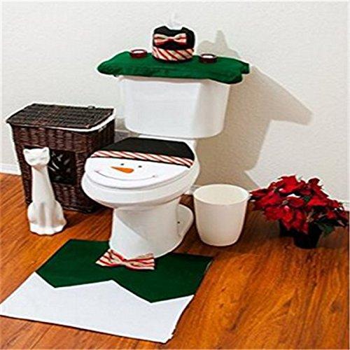 Conjunto de funda de inodoro y alfombra con dise?o de Papa Noel, de la marca Unicoco, decoración de Navidad, algodón, Verde, 35