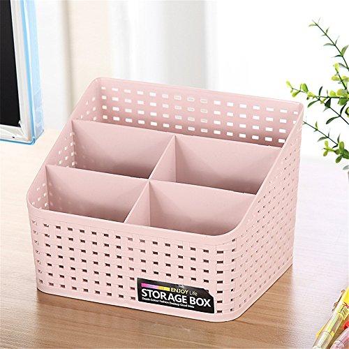 Vanker Schreibtisch-Organizer aus Kunststoff mit mehreren Fächern, für Make-up-Pinsel, Aufbewahrungsbox für mehr Ordnung und Sauberkeit, plastik, rose, Large