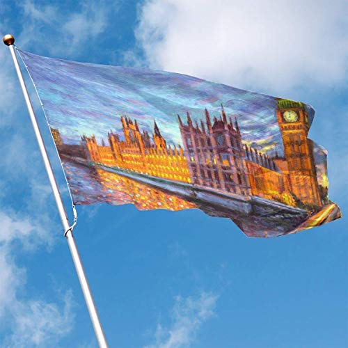 ewretery Home Garden Flag Big Ben Painting Polyester Flag Indoor/Outdoor Wall Banners Decorative Flag 3x5 FT