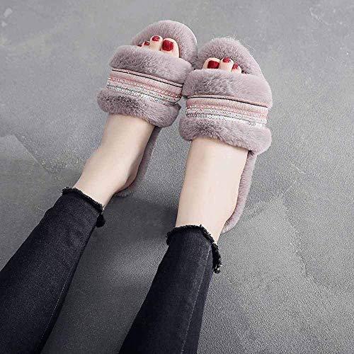 Mode Nepbont Sliders Open teen Platte sandalen Vrouwelijke harige slippers Casual strand Pluizig Pluche Slipper Schoenen voor Dames Dames Meisjes