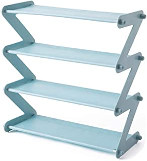 GTC® 4 Layer Z Type Lightweight Space Saving Shoe Organizer Rack for Home and Office (S 352-2) (Blue)