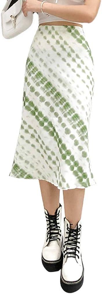 LANOA Harajuku E-Girl 90S Fashion Midi Skirt Green Printed Y2K Vintage High Waits Skirts Fall Women Streetwear Indie Outfit M