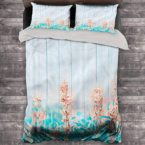 LanQiao Floral 3-Piece Duvet Cover Oak Garden Flowers Buds. 68'x86' inch Quilt Cover and Pillowcase