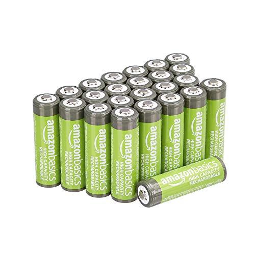 Amazon Basics – AA-Batterien mit hoher Kapazität, wiederaufladbar, 2400 mAh, 24 Stück, vorgeladen
