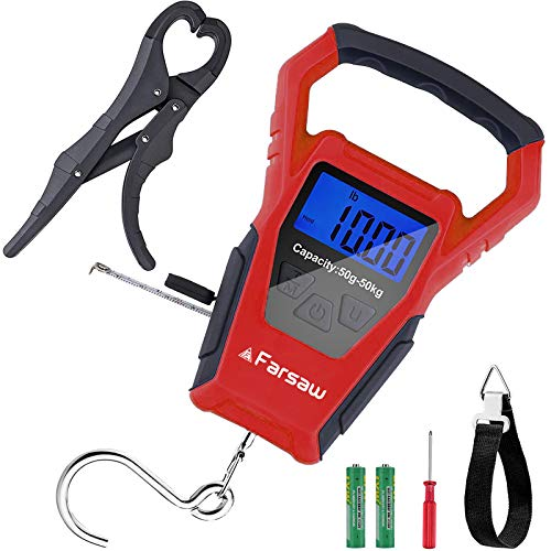 Farsaw Fishing Scale, Hanging Scale with Fish Gripper & Measuring Tape, Waterproof Digital Weight Fish Scale with One-Piece Handle, 2 AAA Batteries Included