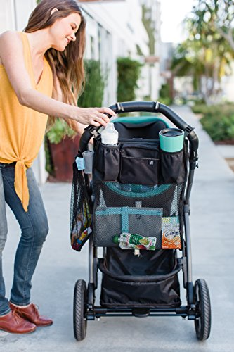 J.L. Childress Cups 'N Cargo, Universal Fit Stroller Organizer with Extra Large Storage, Expandable Deep Cup Holders, Multiple Zippered Pockets, Unique Large Mesh Bag for Larger Items, Black