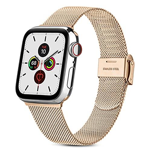 RUHE Correa Compatible con Apple Watch 38mm 40mm 42mm 44mm,Pulsera de Repuesto de Acero Inoxidable Correa para iWatch Series SE 6 5 4 3 2 1,Hombres y Mujer(38mm/40mm,Oro Rosa)