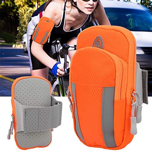 Demeras Brazalete para Correr Universal Bolsa para Brazalete para Correr Durable Fitness Brazalete para Correr Soporte para teléfono Bolsa para Correr, Caminar, IR de excursión para Andar en(Orange)