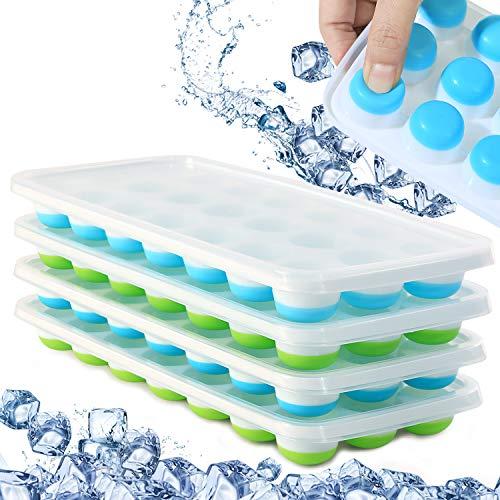 Cubitera de hielo con tapas sin BPA, 4 paquetes de fácil liberación de silicona con tapa, apilable, sin derrames, bandeja de hielo de...