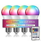 WiFi スマート LED電球 アレクサ対応 Google Home対応 マルチカラー 調光調色 9W E26 100V 800lm 家電照明 超省エネライト タイミング機能 ハブ不要 4個セット(リモコン付)