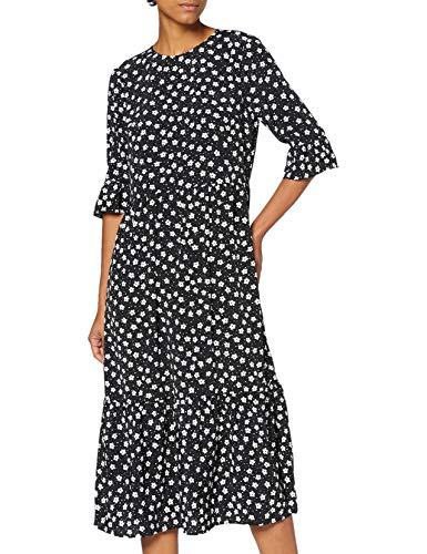 Miss Selfridge Black Floral Midi Smock Dress Vestito Casual, Nero, 6 Donna