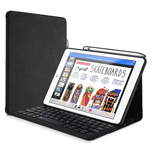 ProCase Keyboard Case for iPad Air 10.5' (3rd Gen) 2019 / iPad Pro 10.5 2017 with Built-in Apple Pencil Holder, Slim Lightweight Folio Stand Protective Smart Cover with Wireless Keyboard -Black