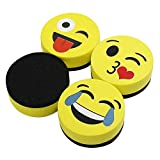 VIZ-PRO Magnetic Smiley Face Circular Whiteboard Eraser / 4 Pack of 2' Dry Erase Erasers