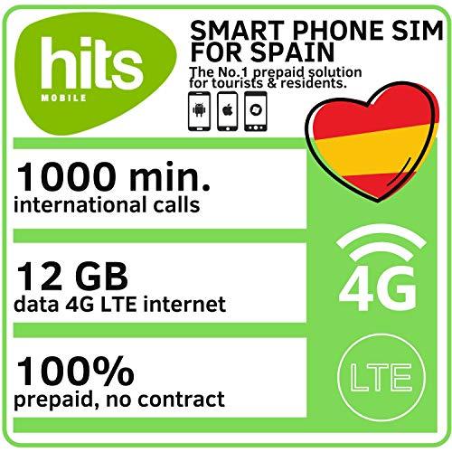 Hits Mobile Prepaid Smartphone SIM Karte mit 1000 Freiminuten und 12 GB Datenvolumen für schnelles 4G / LTE Internet in Spanien und Europa