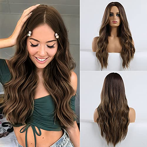HANYUDIE Ombre Brown Wig Long Wavy Wigs for Women Ombre Brown Wig witn Middle Part Wigs Heat Resistant Fiber Synthetic Wigs (Ombre Brown.)