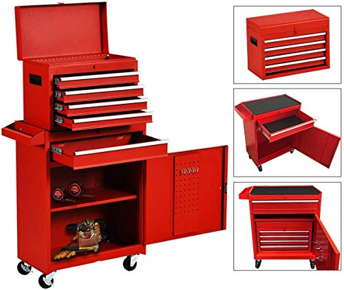 5-Drawer Rolling Tool Chest, Keyed Locking System Tool Box Big Tool Cabinet with Sliding Drawers and 4 Universal Wheels, Movable Toolbox for Workshop Machinery Garage (Cool red)