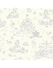 York Wallcoverings Walt Disney Kids II Sofia Toile Wallpaper Memo Sample, 8-Inch x 10-Inch, Purple/White