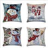 ZHAS Almohada Outdoor Wamsutta Pillow Euro Pillow Fundas de Cojines de Lino Square Throw Pillow, 18 Pulgadas, Juego de 4 (Color: muñeco de Nieve)