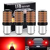 DEFVNSY - Confezione da 4-1157 BAY15D 2057 2357 7528 Super luminoso Rosso 12-24V DC 3014 1500Lm 144SMD Lampadine LED per fanale posteriore per auto Luci freno moto