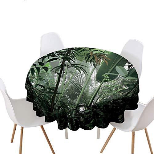 Highdi Impermeable Mantel de Redondo, Antimanchas Lavable Manteles Moderno Decoración para Salón, Cocina, Comedor, Mesa, Interior y Exterior (Tropical,Redondo 180cm)