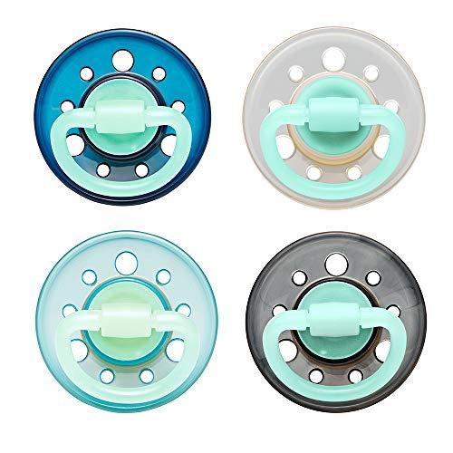 Sucette en latex nip CHERRY Night: sans BPA, taille 2, à partir de 6 mois, couleur bleu foncé/turquoise/noir/transparent (4 pièces)