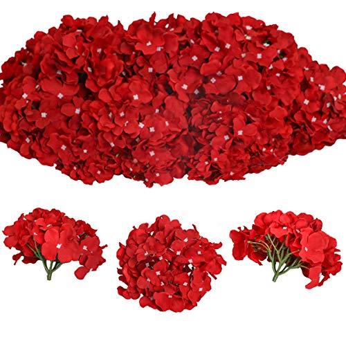 Tifuly 12 Pcs Hortensias Artificiales, Hortensias de Seda Cabezas de Flores con Tallos Flores Falsas para Ramos de Novia, Decoración de Fiesta en el hogar, Arreglos, Centros de Mesa (Rojo)