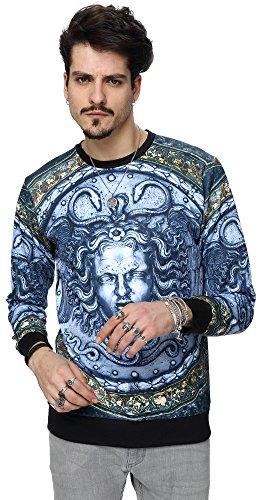 PIZOFF Unisex Hip Hop Sweatshirts mit 3D Digital Print 3D Muster Helios Medusa Skulptur der italienischen Renaissance Y1759-50-M