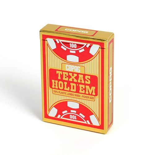 Copag - Carte Poker Texas Hold'em I Carte da Gioco 100% Plastica (PVC) I Mazzo di Carte I Gioco di società - Rosso (Jumbo Index)