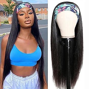 Human Hair Headband Wigs 20 Inch Straight Hair Headband Wigs for Black Women Human Hair Glueless None Lace Front Straight Headband Wigs Brazilian Virgin Hair Natural Color 150% Density  20 Inch