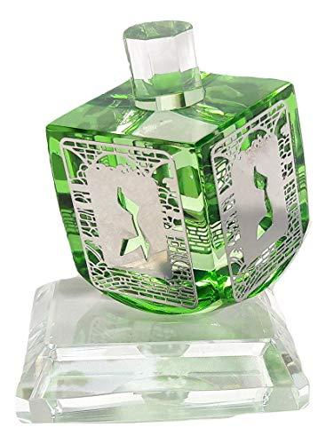 New Green Chanukah Hanukkah Crystal Israel Dreidel&Display Sevivon top Spinning