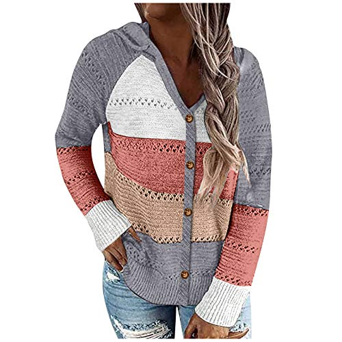 Suéteres de punto para mujeres, suéteres de jersey difuso para mujeres ahuecan sudaderas con capucha