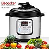 Becooker 11-in-1 Multi-Function Programmable Electric Pressure Cooker Stainless Steel Pot, 8 Quart, Black