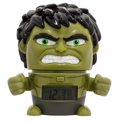 BulbBotz Despertador Infantil con Luz Nocturna de Hulk de Vengadores, Verde, 11.5x15.3x16.5 cm, 2021739