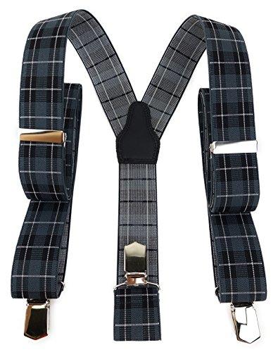 TigerTie Unisex Hosenträger in Y-Form mit 3 extra starken Clips - Farbe in grau silber schwarz kariert - hochwertige Verarbeitung - Breite 35 mm